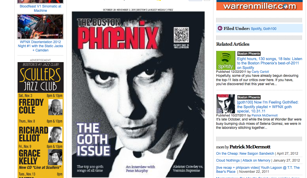 The Boston Phoenix Ranks Top 100 Goth Songs Of All Time
